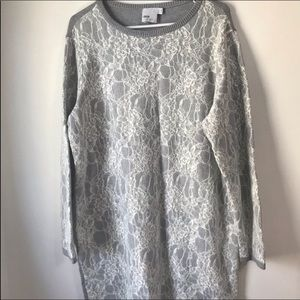 ASOS Curve Sweater Dress Gray Lace Tunic 18 Floral